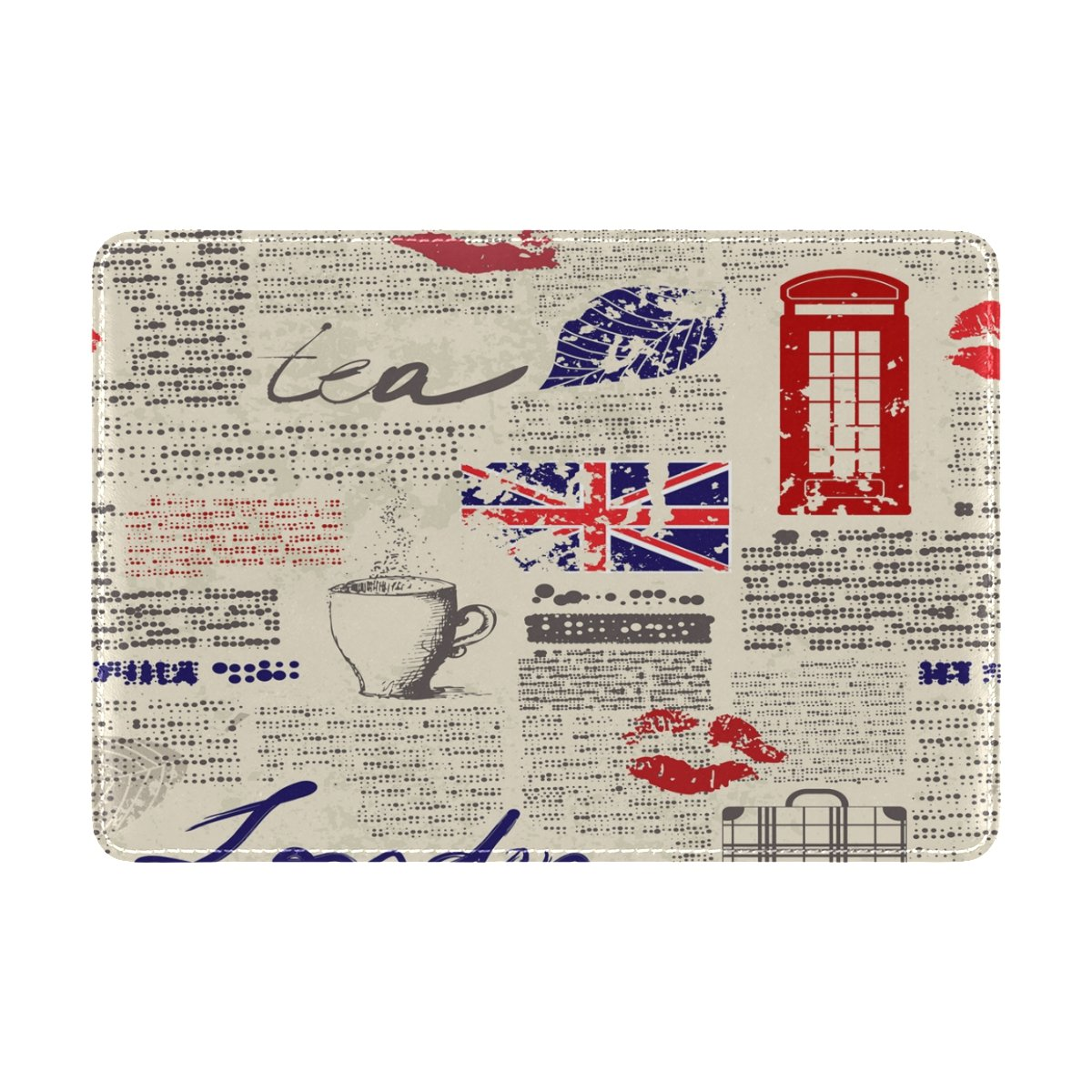 ALAZA Newspaper Lips British Flag Leather Passport Holder Cover Case Travel One Pocket