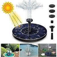 Bomba de fuente solar, bombas de estanque de agua solar 1.4W con 4 efectos | Bomba de agua solar con una altura máxima de 70 cm | para baño de pájaros, estanque pequeño, jardín y piscina-black-5