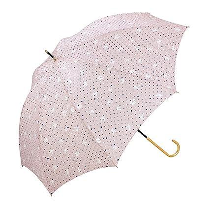 Paraguas &Doble Patrón de Corazón de Melocotón Lady Long Handle Sunny Umbrella (Color : B