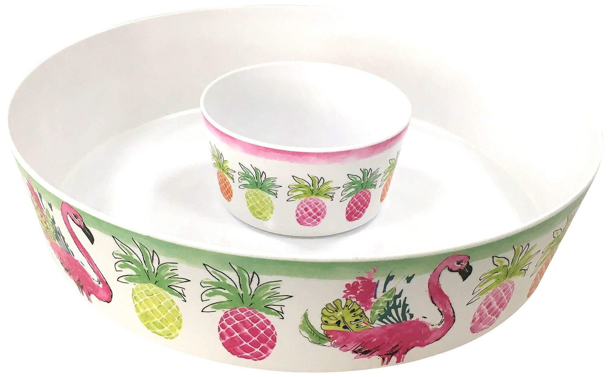 Tropix Pineapple Flamingo Chip & Dip Bowl One Size White/pink/orange/green