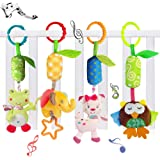 4 Packs Baby Rattle Toy Cat Seat and Stroller Hanging Bell for Newborn Toddlers,KateDy Playing Handbells Use for Baby Car Crib Stroller Toys,Adorable Animal Wind Chime for Tag Along Travel Pals