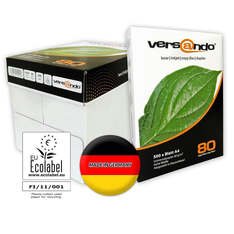 Versando - 2500 folios de alta calidad para impresión, color blanco 80, DIN A4, papel para impresión, fax, impresoras láser o de tinta, papel ...