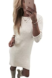 Yidarton Robe Pull Femme Manches Longues Robe d Hiver en Tricot Elegant e5ce5e2944ee