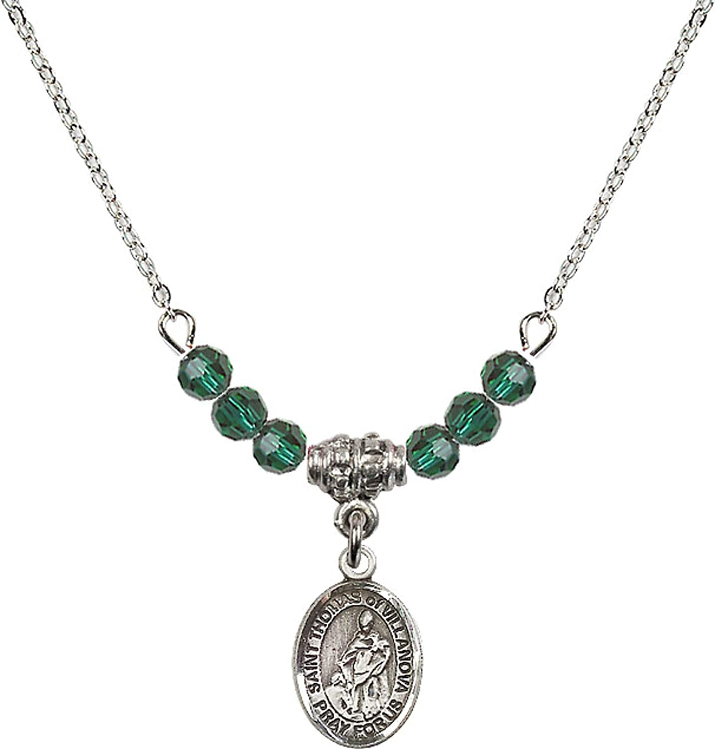 Bonyak Jewelry 18 Inch Rhodium Plated Necklace w// 4mm Green May Birth Month Stone Beads and Saint Thomas of Villanova Charm