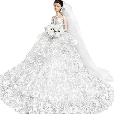 WayIn® Splendido abito fatto a mano da sposa fatta su misura per la bambola  di 0d8218ad4f7