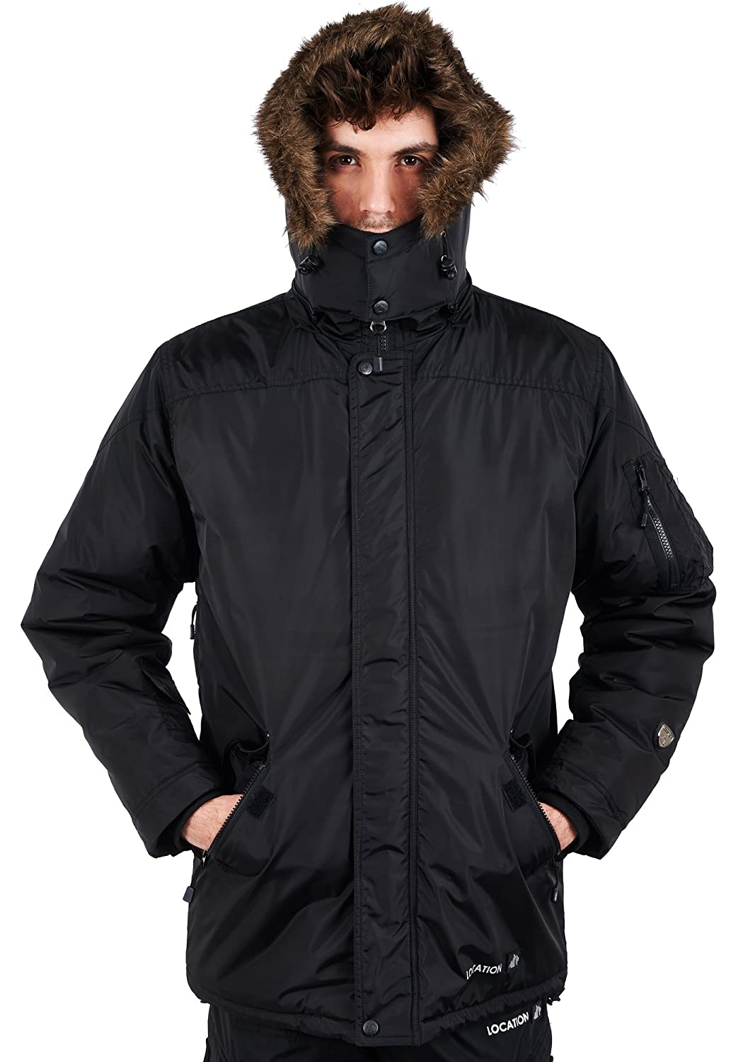 Mens Location Hunter One-10 Military Parka Jacket Waterproof Quilted Padded Coat
