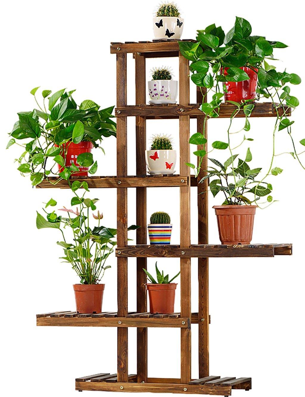 Massivholz Blumenregal Holz Bonsai Blumenregale Boden Art Balkon Mehrschicht-Wohnzimmer Innen ( farbe : A , größe : 62*26*130cm )