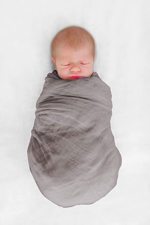 Cute New York Premium Cotton Muslin Swaddle Blankets for New Born Boys Girls (Grey)