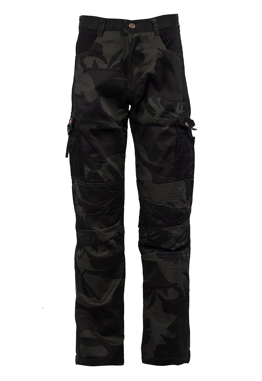 Stenso Kamo/® Uomo Pantaloni da Lavoro di carico in Stile Camouflage Nero