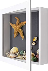 Golden State Art, Shadow Box Frame Display Case, 2-inch Depth, Great for Collages, Collections, Mementos (11x11, White)