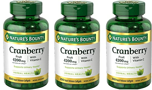 Nature s Bounty Cranberry Fruit 4200mg Plus Vitamin C 250 Softgels 3 Pack