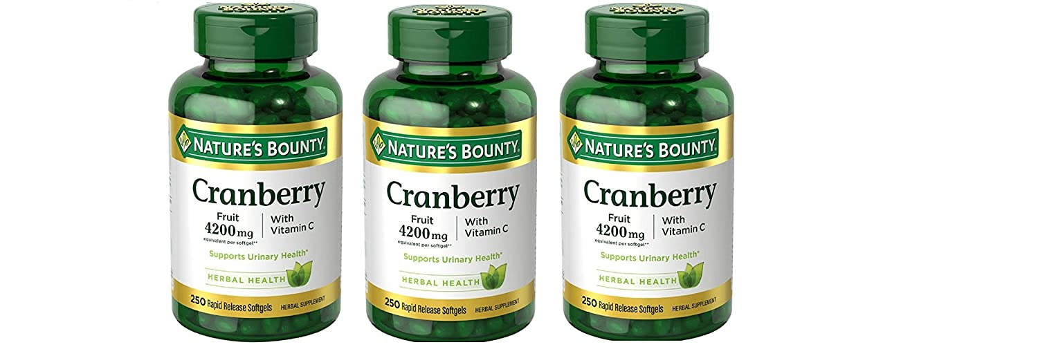 Nature's Bounty Cranberry Fruit 4200mg/Plus Vitamin C 250 Softgels (3 Pack)