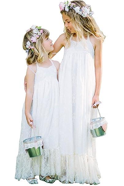 Gzcdress Summer Halter Flower Girls Dresses Beach Lace Long Kids