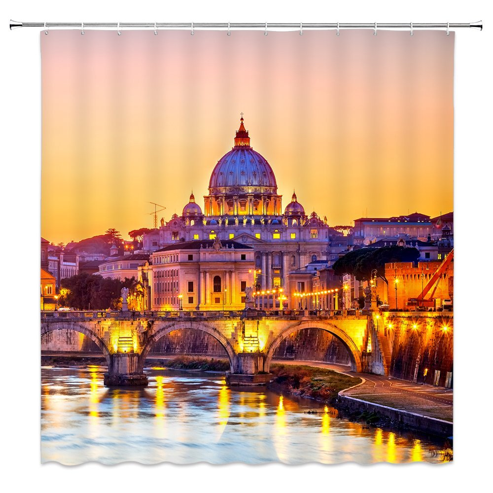 Feierman Thai Castle Shower Curtain Decor Beautiful Dusk Castle Bathroom Curtain Decor Machine Washable Mildew Resistant with Hooks 70x70Inches by Feierman
