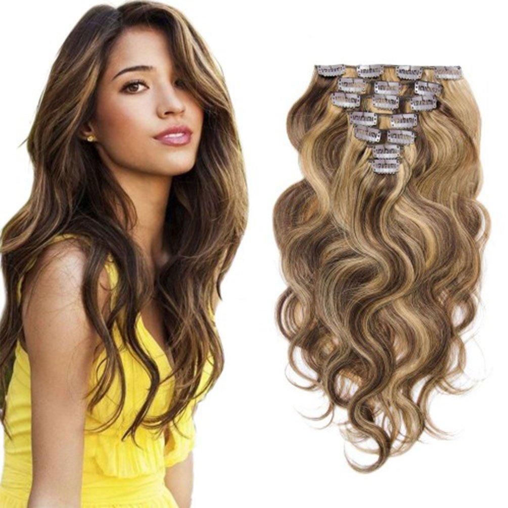 Clip in Human Hair Brazilian Virgin Clip in Hair Extensions Body Wave 7pcs/set 100g #4/27 16inch by TianLiZiMei