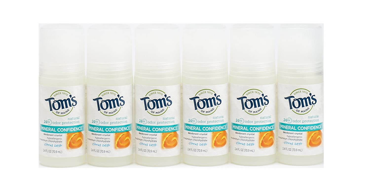 Tom's of Maine Natural Confidence Deodorant Roll-On, Citrus Zest, 2.4 Ounce, (Pack of 6)