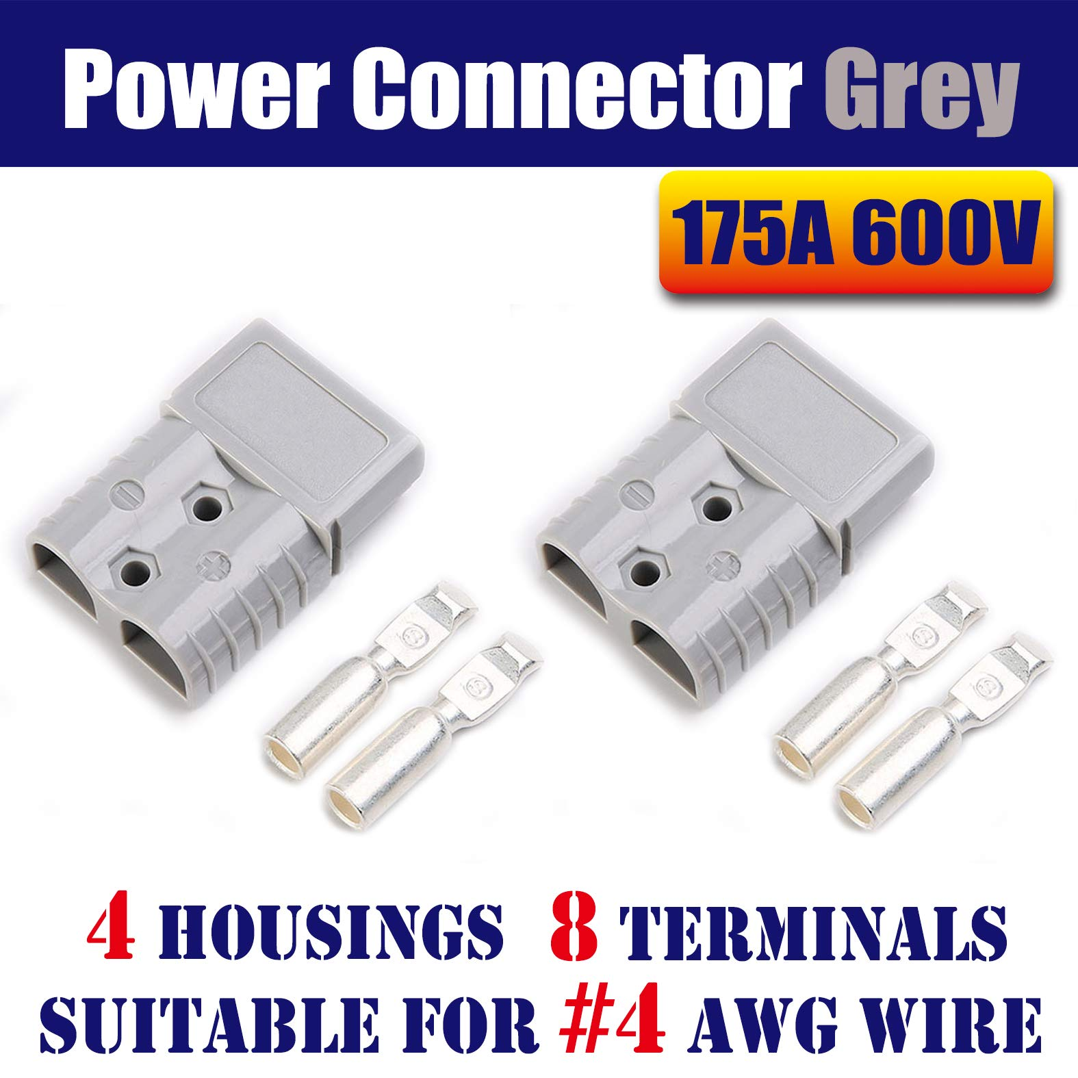 Mr.Brighton LED 175Amp Anderson Compatible 2 Pole Power Connector Plug Grey w/Terminals for #4 AWG Wire[4 housing+8 Terminal pins] by Mr.Brighton LED
