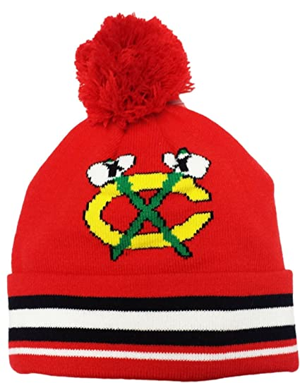 0be5444646c Image Unavailable. Image not available for. Color  Youth Chicago Blackhawks  Tomahawk Logo Cuffed Knit Beanie With Pom NHL Reebok Official Hat