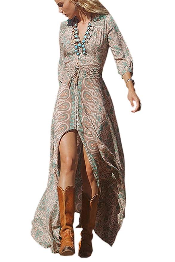 Estampado Floral Manga Larga Mujer Bohemia Tunic Swing Maxi Vestido De Fiesta: Amazon.es: Ropa y accesorios