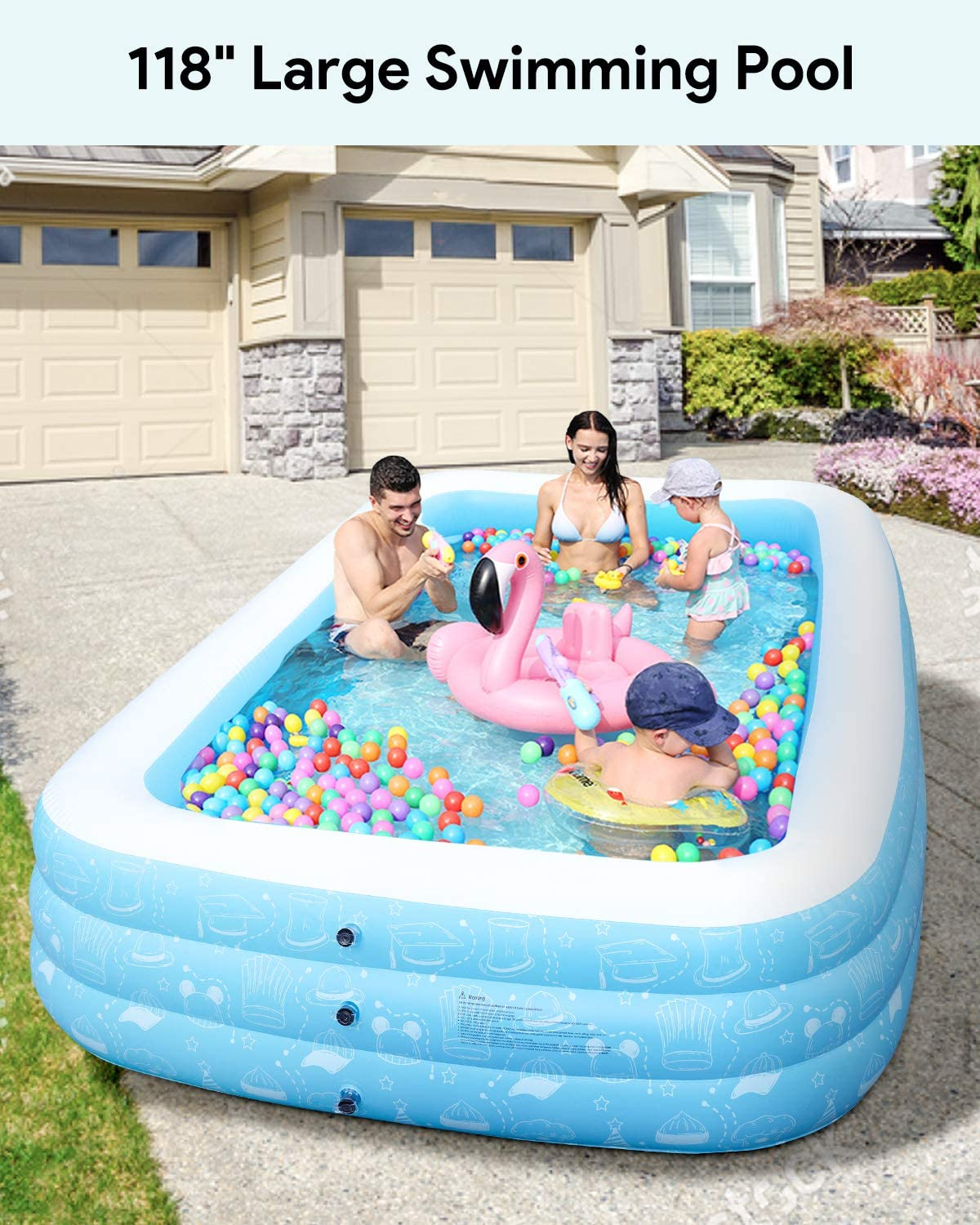"""Freedom Series Large Inflatable Pool, Inflatable Swimming Pools 118"""" x 73"""" x 20"""" Kiddie Pool Blow Up Pool Family Swimming Pool for Kids, Adults, Babies, Toddlers, Outdoor, Garden, Backyard"""