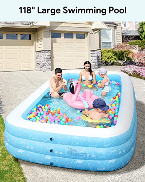 Large Inflatable Pool Inflatable Swimming Pools 118 X 73 X 20 Kiddie Pool Blow Up Pool Family Swimming Pool For Kids Adults Babies Toddlers Outdoor Garden Backyard Amazon Ca Home Kitchen