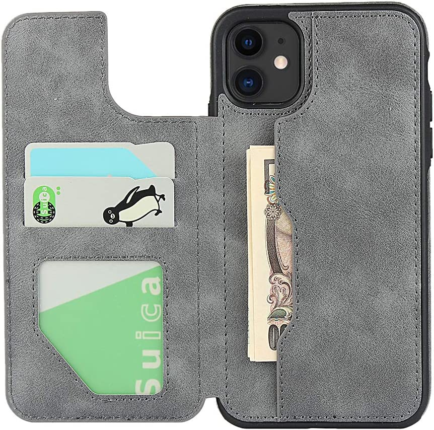 PU Leather Flip Shockproof Cover for iPhone 6 6s Plus//7 Plus// 8 Plus Cavor iPhone 6 6s Plus//7 Plus// 8 Plus Case Gray with Lanyard Wallet Card Holder Case 4 Card Slots