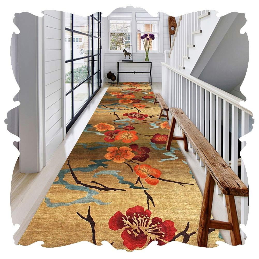 YANGJUN 廊下敷きカーペット ラグ ランナー 洗える イージーケア 柔らかい 滑り止め 印刷 フラワーズ 梅の花 褐色 カッタブル カスタマイズ可能 (Color : A, Size : 0.6x7.5m) B07SGLYS6C A 0.6x7.5m