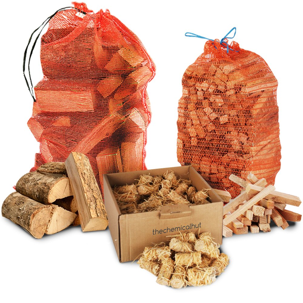 Winter Firewood Pack - 15kg Kiln Dried Hardwood Ash Logs + 3kg Kindling + 100x Natural Wood Wool & Wax Dipped Firelighters Comes with TheChemicalHut® Anti-bac pen. The Chemical Hut