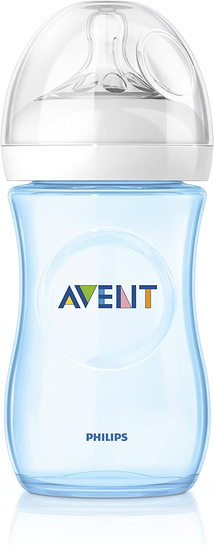 طقم زجاجات تغذية ورضاعة طبيعية، زجاجتان وبسعة 260 مل – لون أزرق