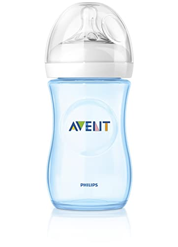 Philips Avent Natural baby bottle Slow flow teat (260 ml, 1 Month Plus, Blue, Pack of 2)