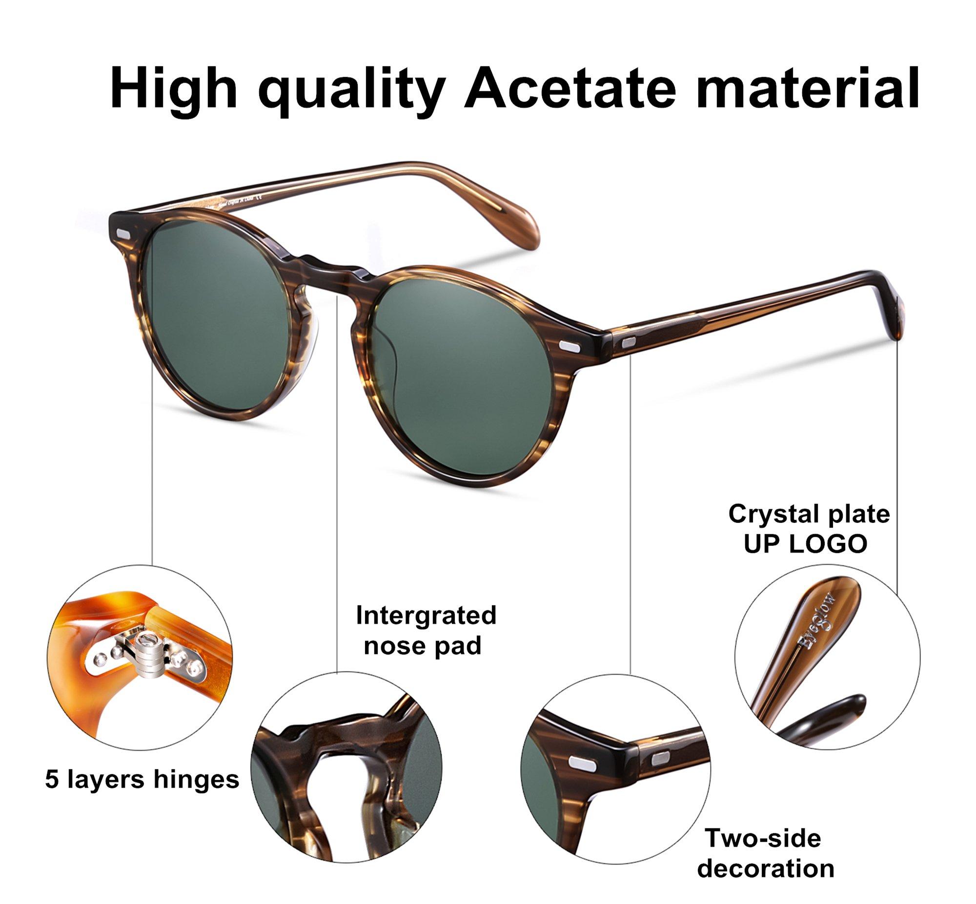 EyeGlow Vintage Round Sunglasses Women Sunglasses Men Polarized Lens 5187 Acetate material (Blonde vs green polarized lens, As pictures) by EyeGlow (Image #3)