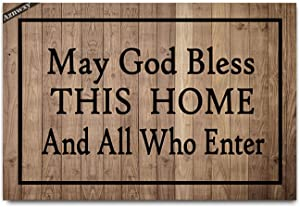 Welcome Mat May God Bless This Home All Who Enter Doormat Outdoor Indoor Funny Mats Entrance Front Doormat Kitchen Bathroom Mats and Rugs