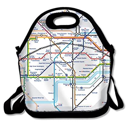 5550dee1037b Amazon.com: Adult Lunch Box Insulated Lunch Bag Complex Map Of ...