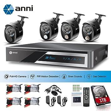 Anni CCTV Kit de vigilancia 8CH 1080P AHD DVR Kit, 4 x 1080P 2.0MP ...