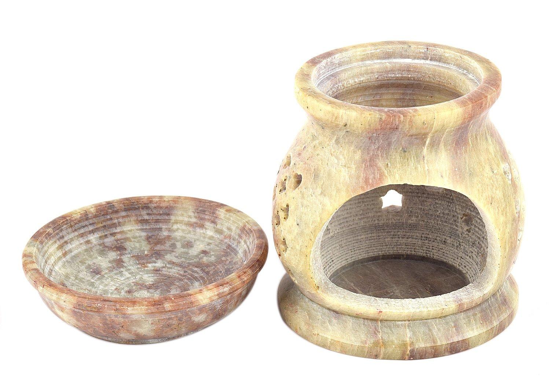 Lámpara aromática 11cm estrellas rejilla decorativa piedra de jabón hornillo 2 partes velita: Amazon.es: Hogar