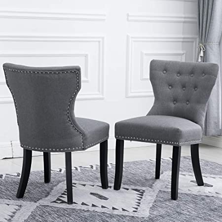 Huisen Furniture Modern Grey Armless Dining Chairs Set Of 4 Wingback Fabric Upholstered Kitchen Restaurant Wood Rustic Living Room Side Chairs Bedroom Leisure Chairs With Soft Seat Grey Amazon Co Uk Kitchen Home
