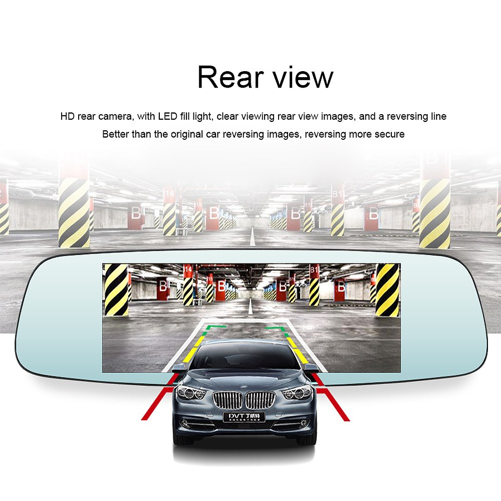 junsun 4G 7'' Dash Cam Car Camera DVR GPS Bluetooth Dual Lens Rearview Mirror Video Recorder Full HD 1080P Automobile DVR Mirror by junsun (Image #5)