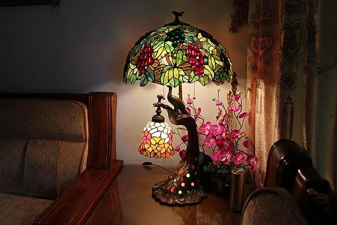 Wss uva vintage lampada tiffany photo art glass 50 cm decorazione