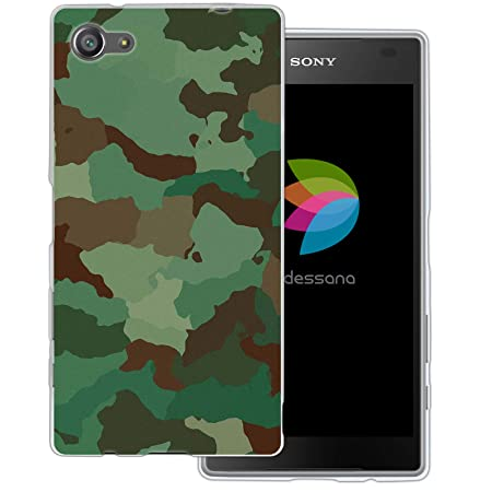dessana Camouflage Transparente Schutzhülle Handy Case Cover Tasche für Sony Xperia Z5 Compact Tarnfarbe Grün