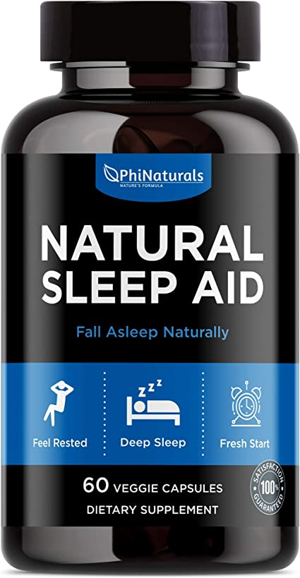 Amazon Com Natural Sleep Aid With Melatonin 60 Capsules Gaba And Valerian Root Passion Flower Hops Skullcap Chamomile Fall Asleep Fast Holistic Supplements For Adults Sleeping