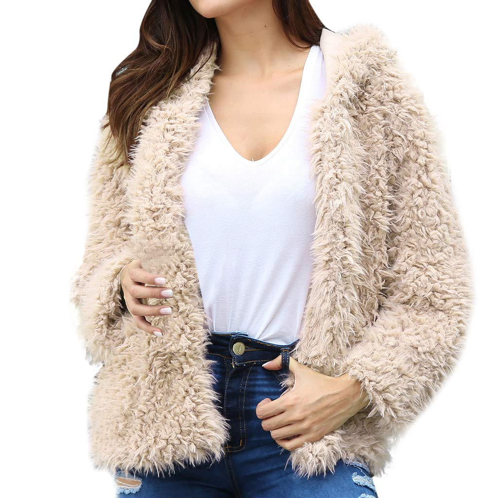 ♫Loosebee♫ Faux Woolen Coat for Women,Winter Fleece Fuzzy Open Front Long Sleeve Outerwears Solid Warm Hooded Jacket Beige by ♫Loosebee♫