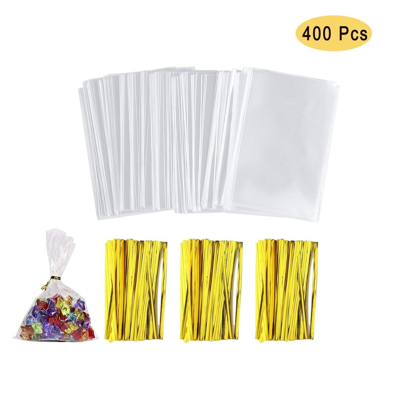 NEPAK 400 Pezzi 8 x 12 cm Sacchetti Trasparenti in cellofan per Alimenti,Caramella Borsa,OPP Sacchetto