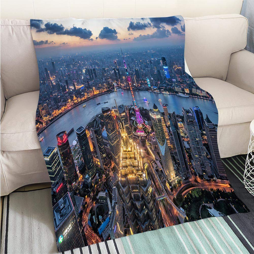 color6 47 x 59in Art Design Photos Cool Quilt Night View of The Bund Shanghai Hypoallergenic Blanket for Bed Couch Chair