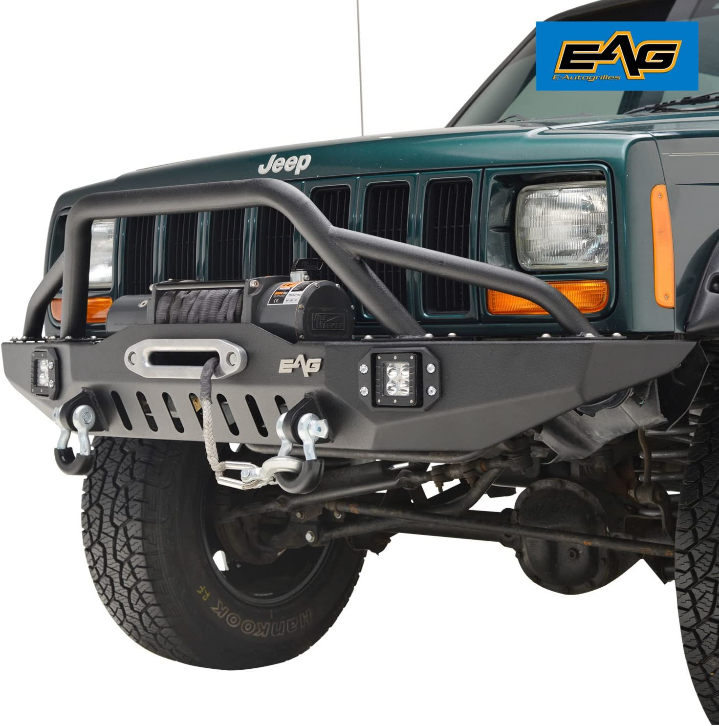 eag front bumper with led lights and winch plate jeep wj fog lights jeep cherokee xj aftermarket fog lights #4