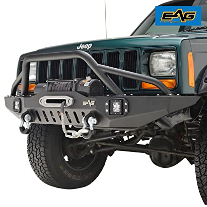 Jeep Cherokee Xj Bumpers >> Amazon Com Eag Front Bumper With Led Lights For 83 01 Jeep Cherokee