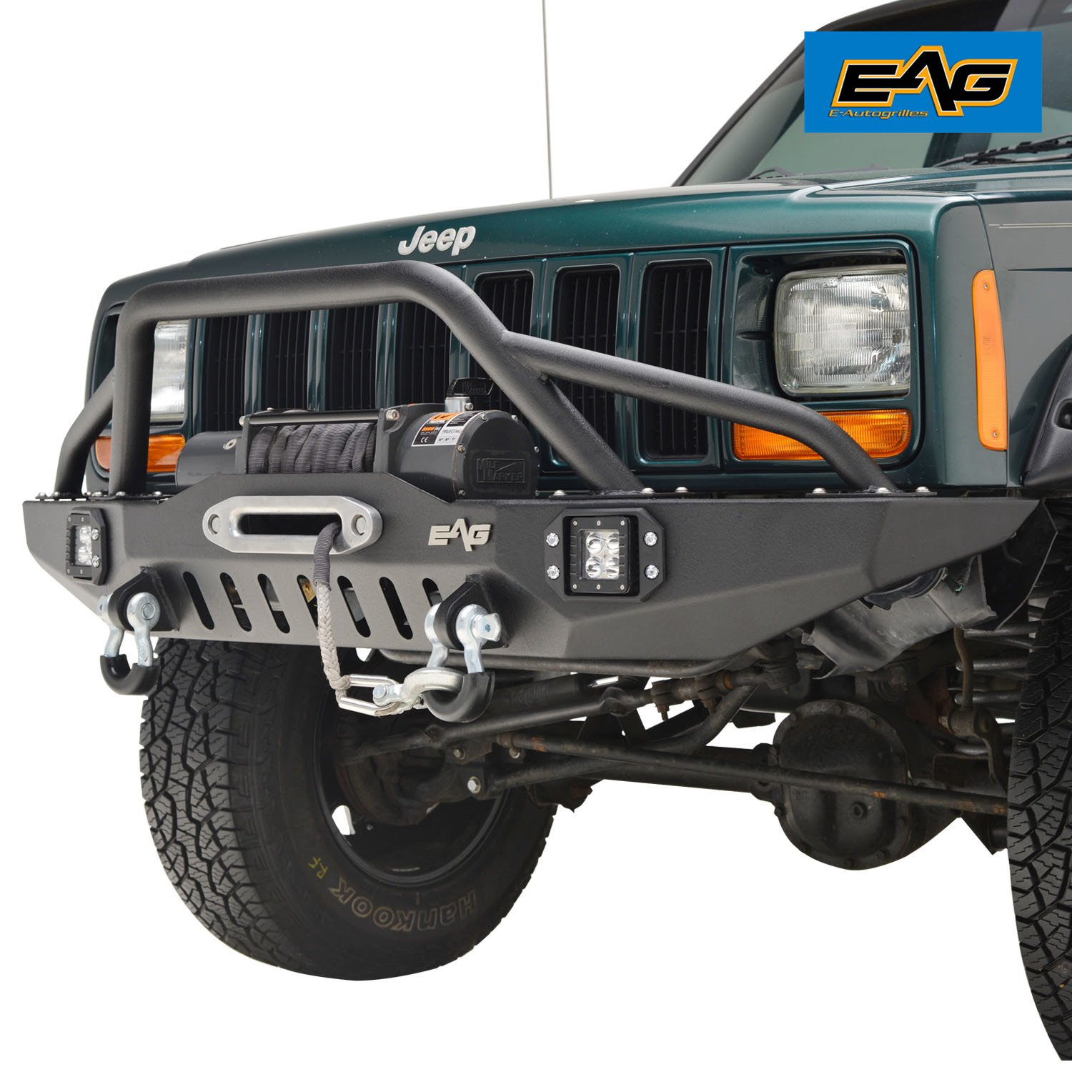 EAG Front Bumper with LED Lights & Winch Plate for 84-01 Jeep Cherokee XJ