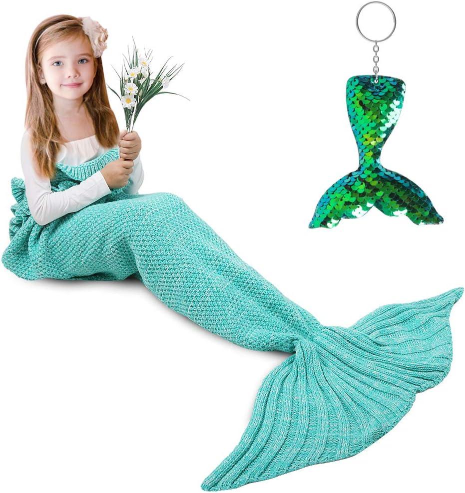 AmyHomie Mermaid Tail Blanket, Mermaid Blanket Adult Mermaid Tail Blanket, Crotchet Kids Mermaid Tail Blanket for Girls (Mint, Kids)