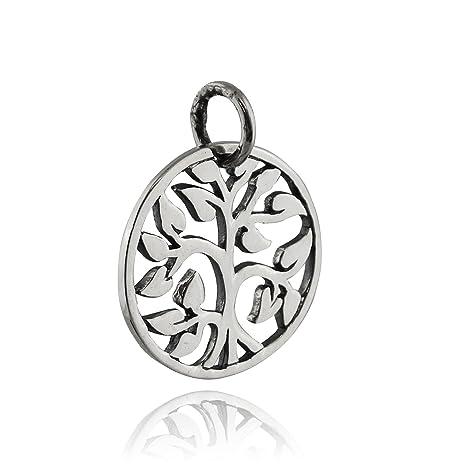 Amazon.com: Colgante redondo de árbol de la vida – plata de ...