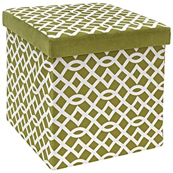Magnificent Fresh Home Elements The Fhe Group Microsuede Folding Storage Ottoman 15 By 15 By 15 Inches Apple Green And White Spiritservingveterans Wood Chair Design Ideas Spiritservingveteransorg