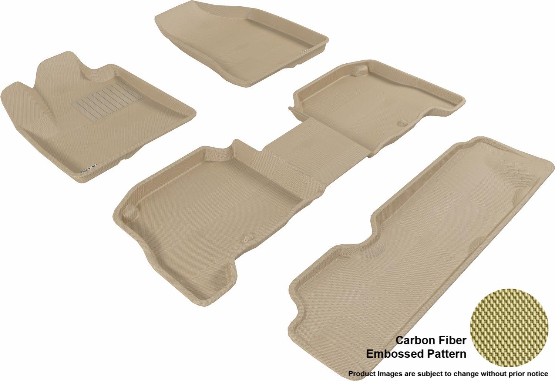 Kagu Rubber L1HY00501509 Black 3D MAXpider Complete Set Custom Fit All-Weather Floor Mat for Select Hyundai Santa Fe Models